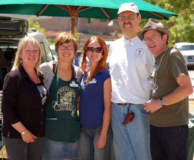 Coco, Erin, Assistant Breanna, market volunteer Randy and Lafe