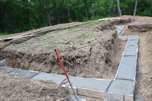 Frost wall footings (there is no basement)