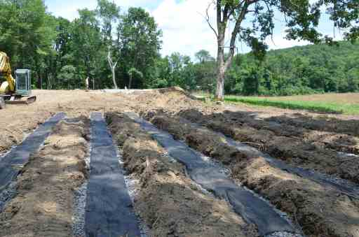 A septic field before being backfilled