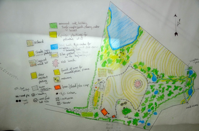 Part of the Permaculture Design Course was to envision what would be on the land in 15-20 years. So this is the global view.